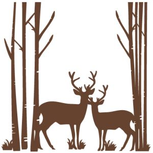 Free svg clipart graphic transparent library Birch Trees With Deer SVG scrapbook cut file cute clipart files ... graphic transparent library
