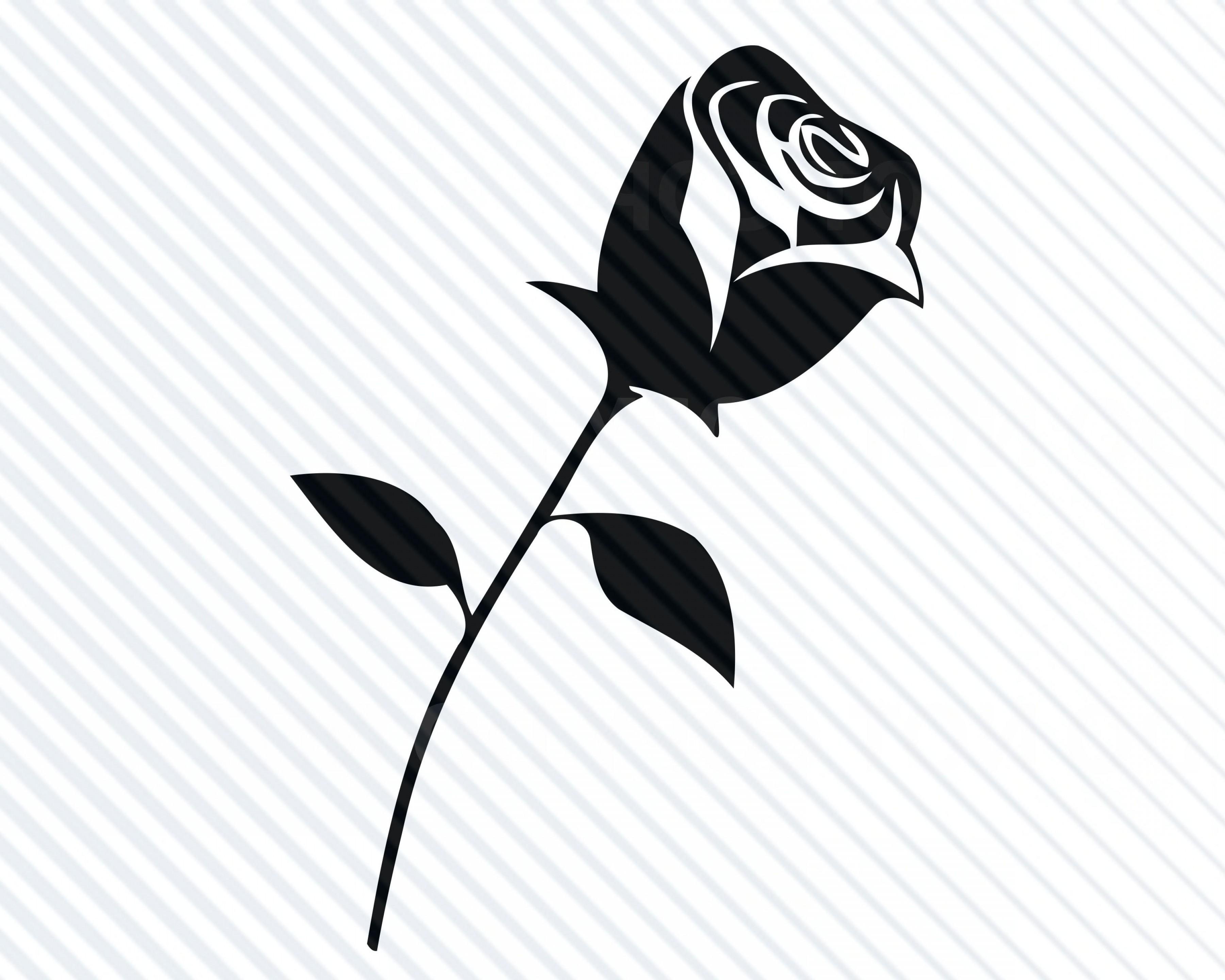 Free svg clipart for cricut flowers black and white clipart transparent Black Rose Flower Vector | SOIDERGI clipart transparent