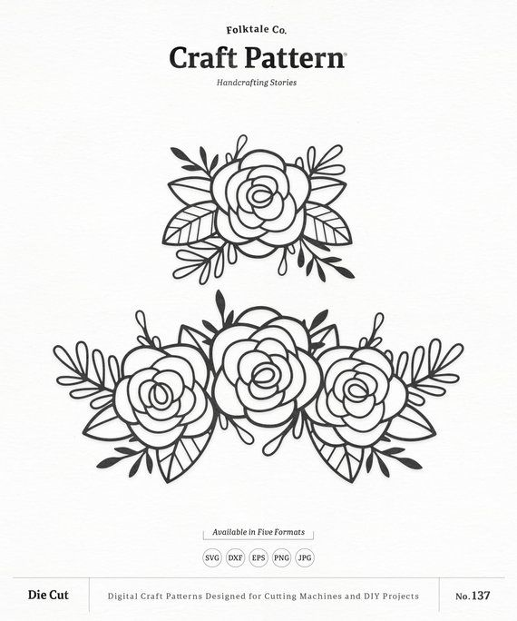 Free svg clipart for cricut flowers black and white vector library Flowers SVG Craft Pattern, Roses Flower SVG, Flower SVG, Floral ... vector library