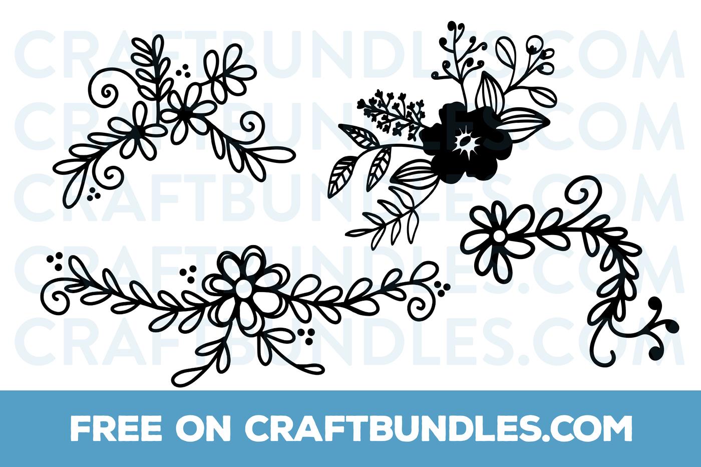 Free svg clipart for cricut flowers black and white clip black and white download FREE Floral Doodles SVG Cut File by CraftBundles.com | CraftBundles clip black and white download