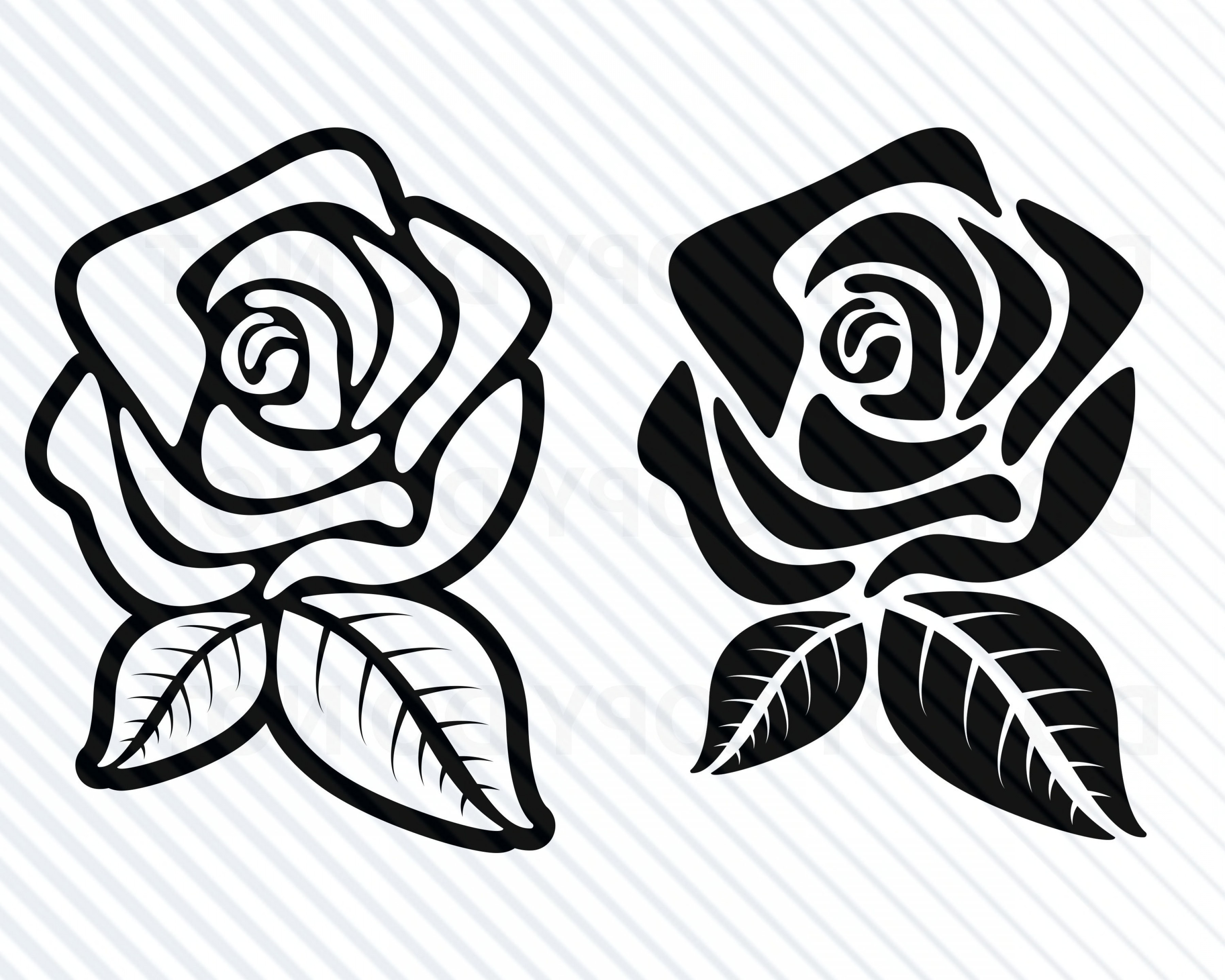 Free svg clipart for cricut flowers black and white graphic free download Black Rose Flowers Svg Files For Cricut | HandandBeak graphic free download