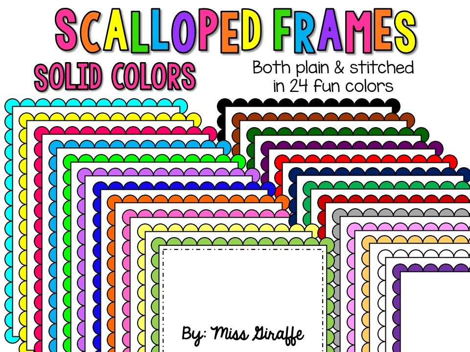 Free teacher clipart for commercial use clipart royalty free library FREE commercial use friendly scalloped frames!! 24 super cute page ... clipart royalty free library