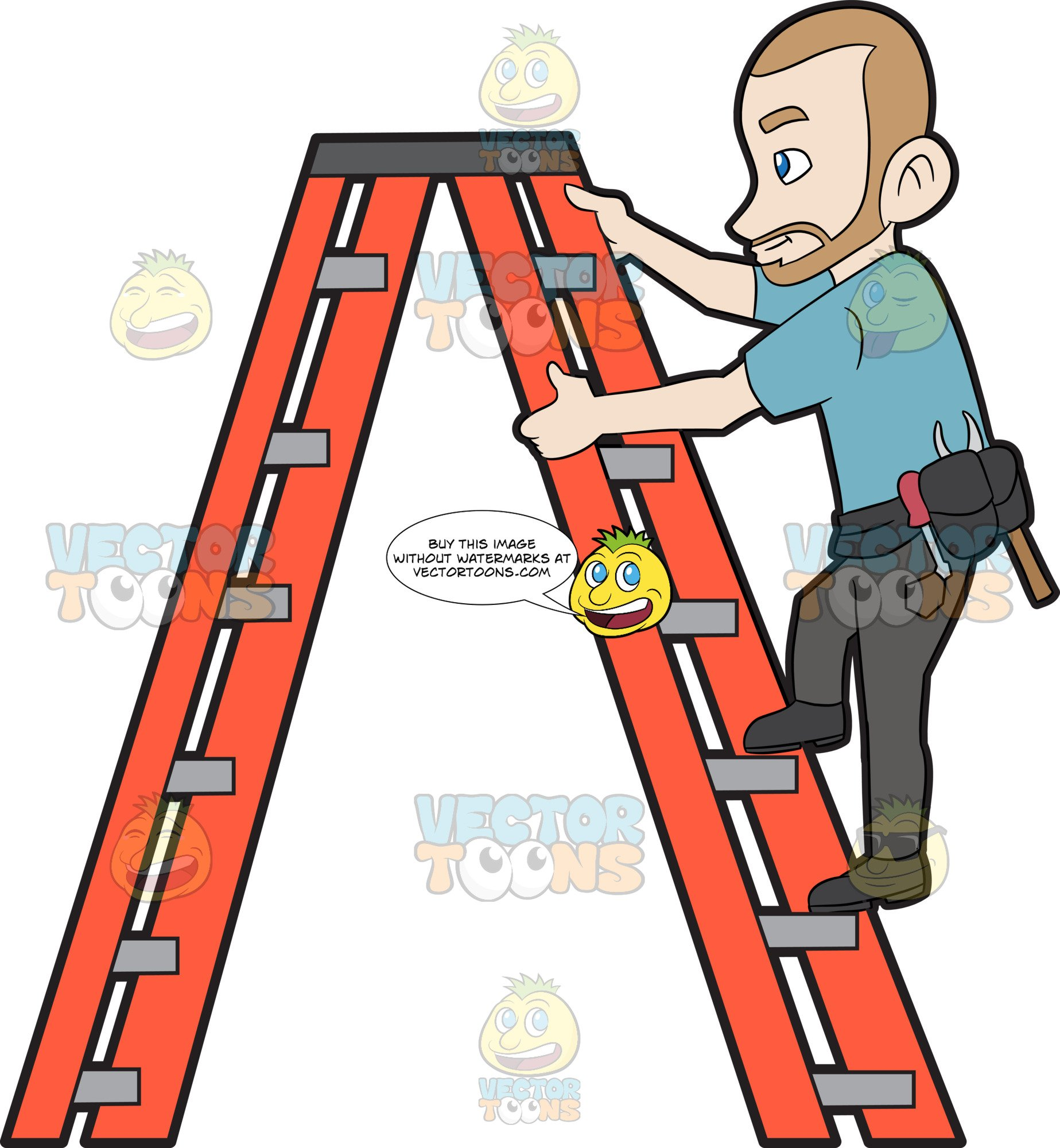 Free to us clipart man climbing ladder banner freeuse stock A Construction Worker Climbing Up The Ladder banner freeuse stock