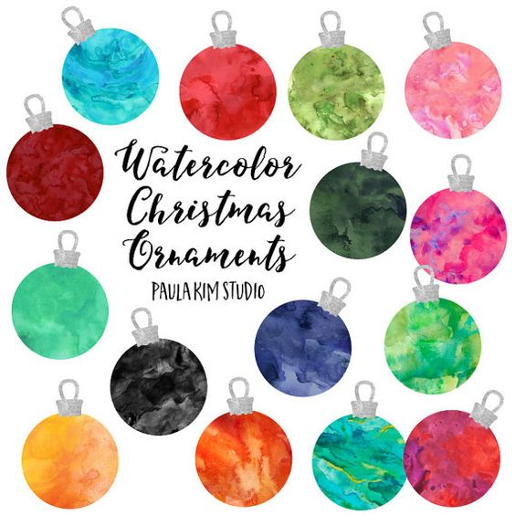 Free to use clipart for commercial use image library library Watercolor Christmas Ornaments Clipart, Instant Digital Download ... image library library
