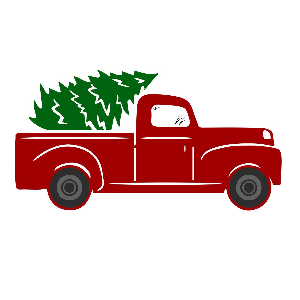 Free top down clipart siloette image of pickup graphic royalty free Free Tree Truck SVG Cut File Free SVG Cut Files   Holidays   Winter ... graphic royalty free