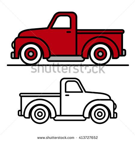 Vintage pickup truck bed black and white clipart picture free stock Two cartoon vintage pick-up truck outline drawings, one red and one ... picture free stock