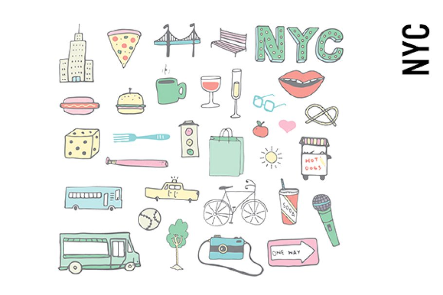 Free transparent new york big apple page clipart image transparent download New York City Doodles image transparent download