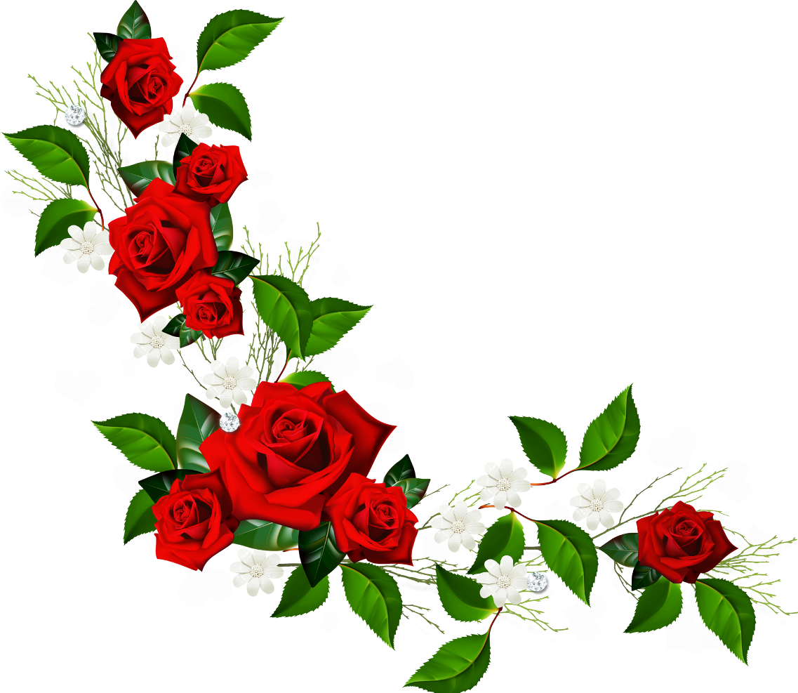 Free transparent new york rose coloring page clipart clip transparent Decorative Element with Red Roses White Flowers and Hearts with ... clip transparent