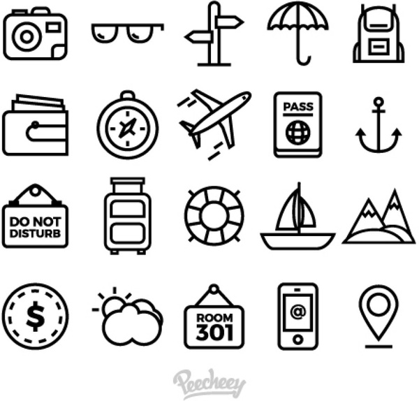 Free travel icons clipart picture free library Set of simple travel icons Free vector in Adobe Illustrator ai ( .ai ... picture free library