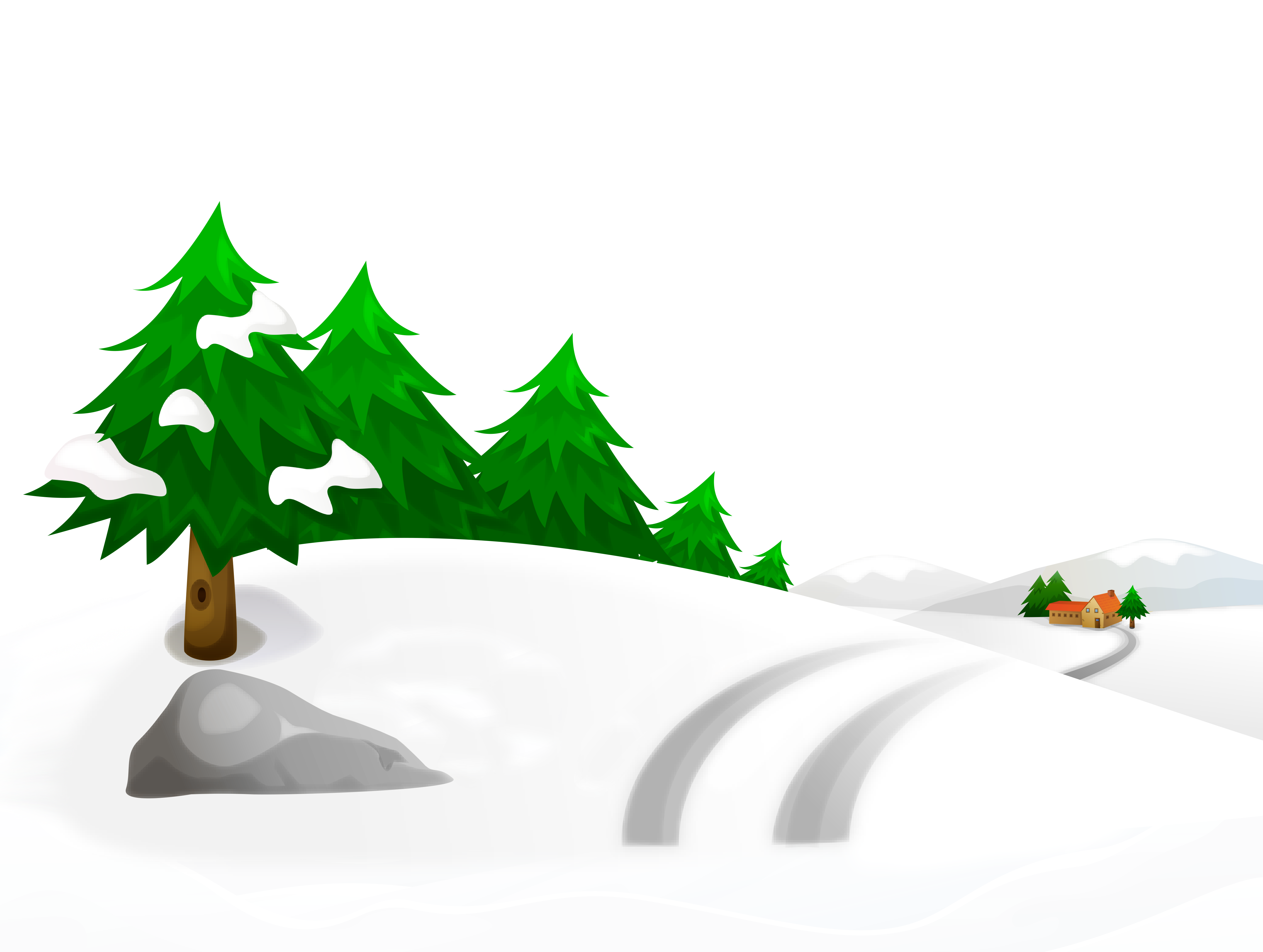 Trees and house clipart png transparent library Snowy Winter Ground with Trees and House PNG Clipart Image ... png transparent library