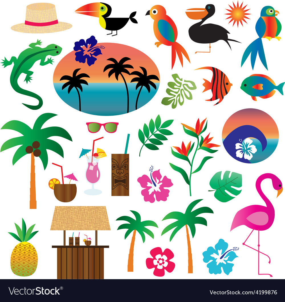 Tropical clipart vector black and white stock