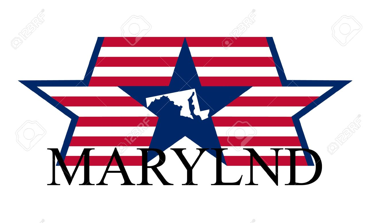Free us map flag clipart svg freeuse Maryland State Map, Flag, And Name. Royalty Free Cliparts, Vectors ... svg freeuse