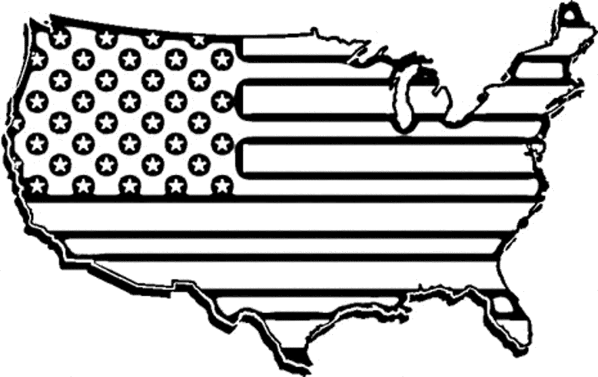 Free us map flag clipart image stock Us map blackline clipart - ClipartFest image stock
