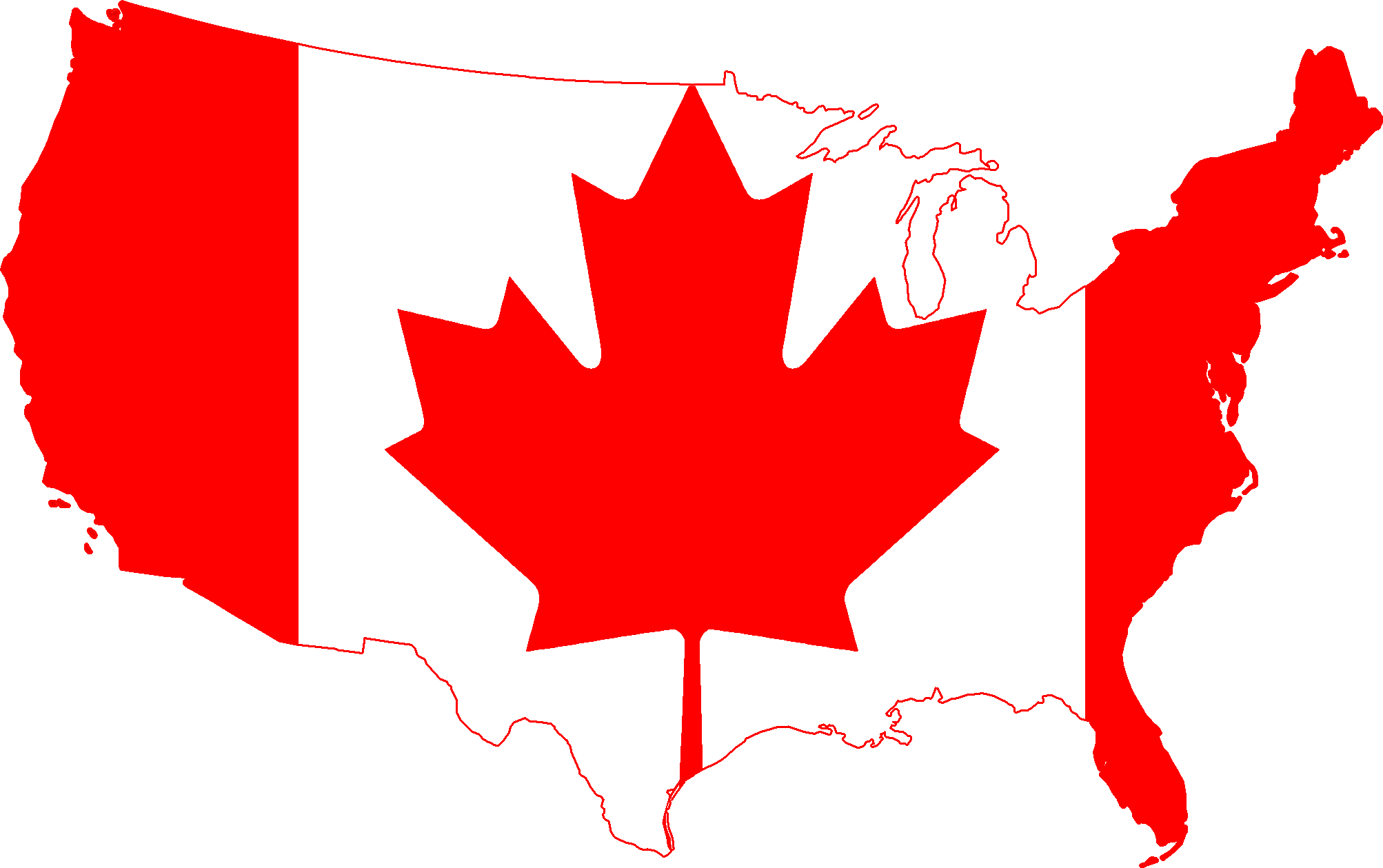 Free us map flag clipart png royalty free library Us And Canada Map Clipart - Clipart Kid png royalty free library