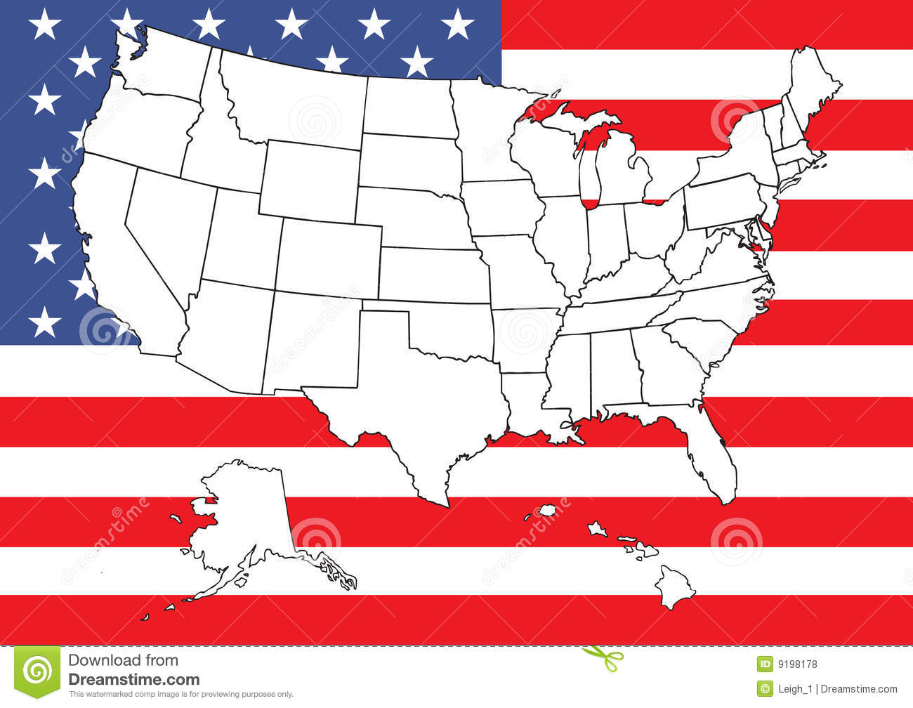 Free us map flag clipart image transparent library Map Of US With Flag Royalty Free Stock Photos - Image: 9198178 image transparent library