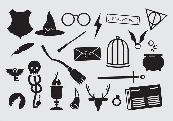 Free vector art clipart image library Large set of sorcery wizard icons - Download Free Vectors, Clipart ... image library