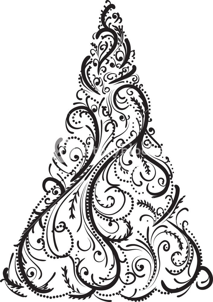 Free vector christmas clipart in black and white svg royalty free library Vector Christmas Tree Royalty-Free Stock Image - Storyblocks Images svg royalty free library