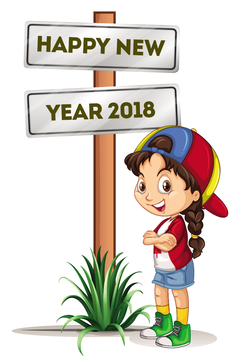 Free vector clipart download vector black and white download Happy new year 2018 clip art free vector download - Coloring Point ... vector black and white download