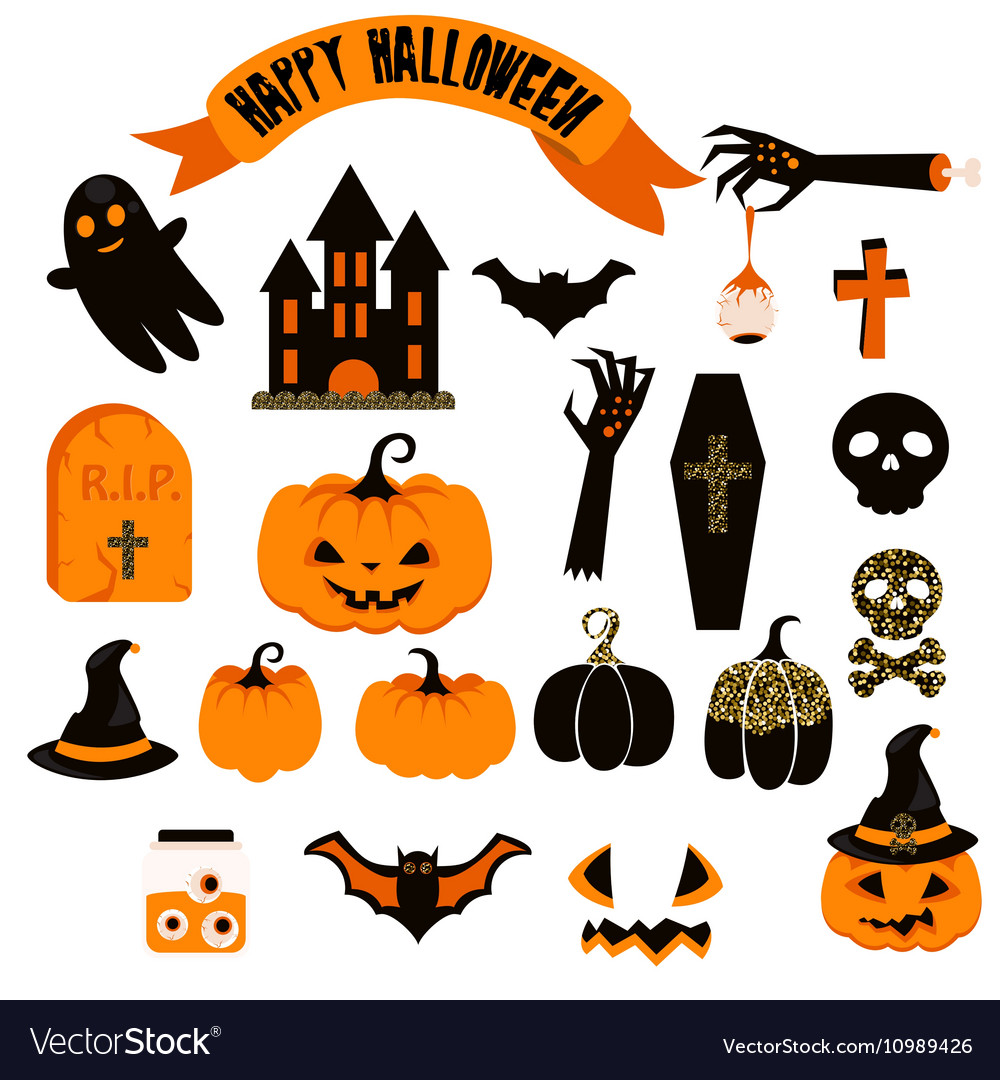 Free vector halloween clipart jpg Halloween clipart set Spooky pumpkin icons jpg