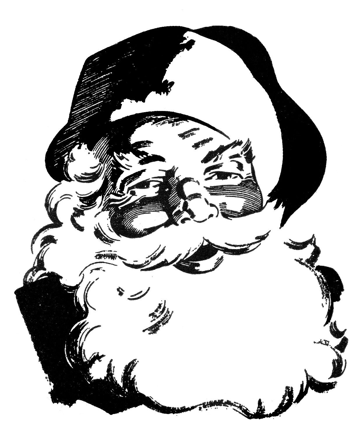 Free victorian christmas clipart black and white picture stock 12 Cute Santa Clipart - Retro Style! | Tags | Retro christmas, Merry ... picture stock