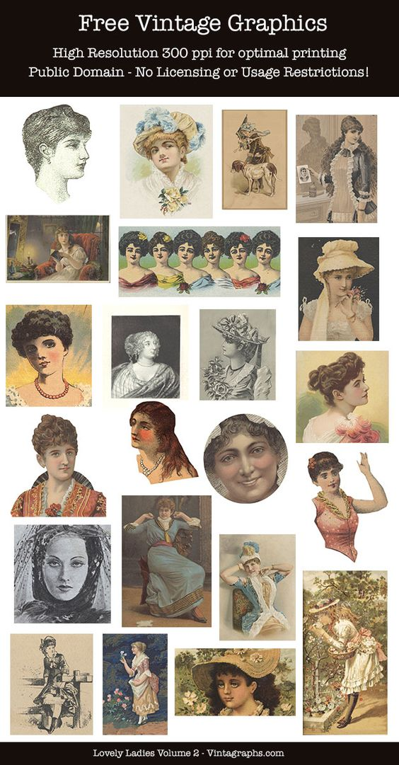Free vintage clipart for commercial use transparent stock Lovely Ladies Vol 2 ~ FREE Vintage Clipart for Commercial or ... transparent stock