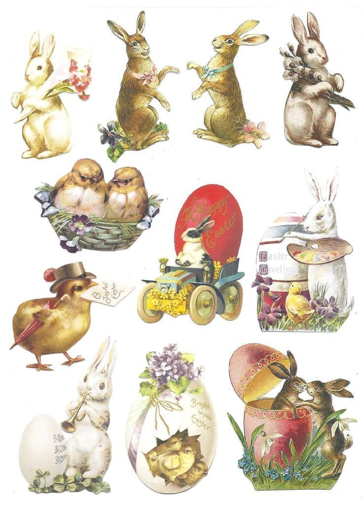 Free vintage easter clipart images banner transparent Free printable vintage Easter clipart - cute bunnies and chicks ... banner transparent