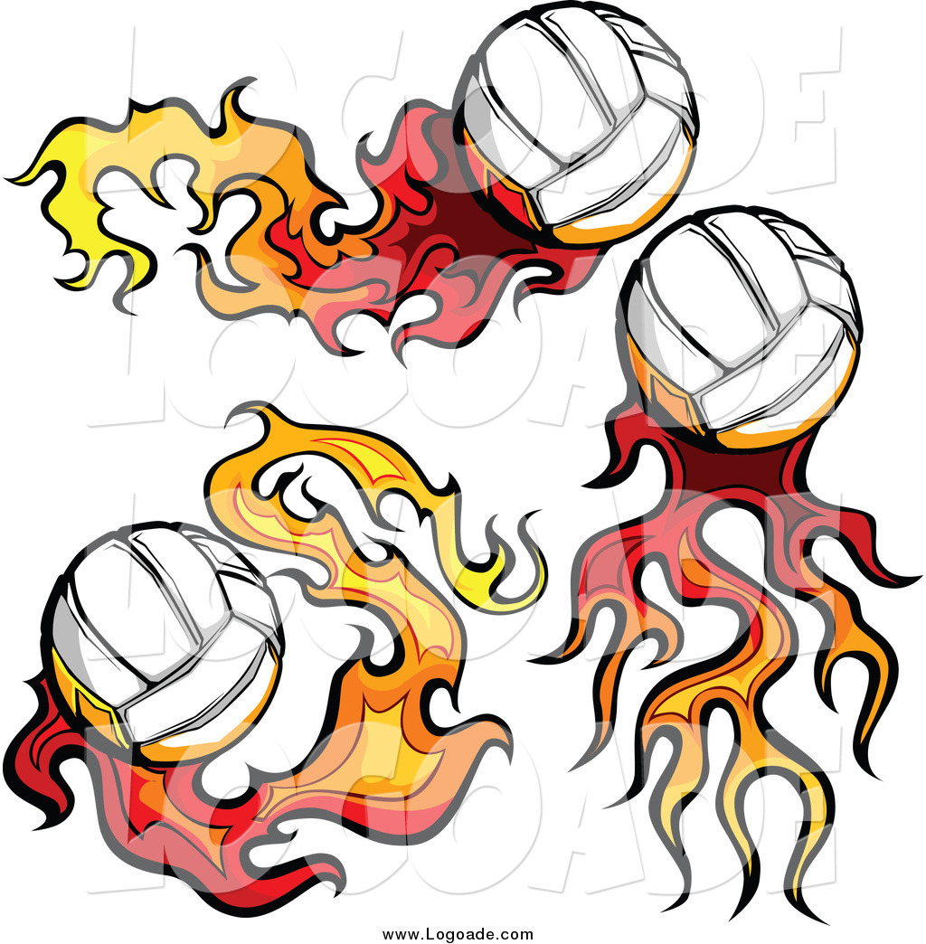 Free volleyball logos clipart clip art library library Clipart of Flaming Volleyball Logos by Chromaco - #5335 clip art library library