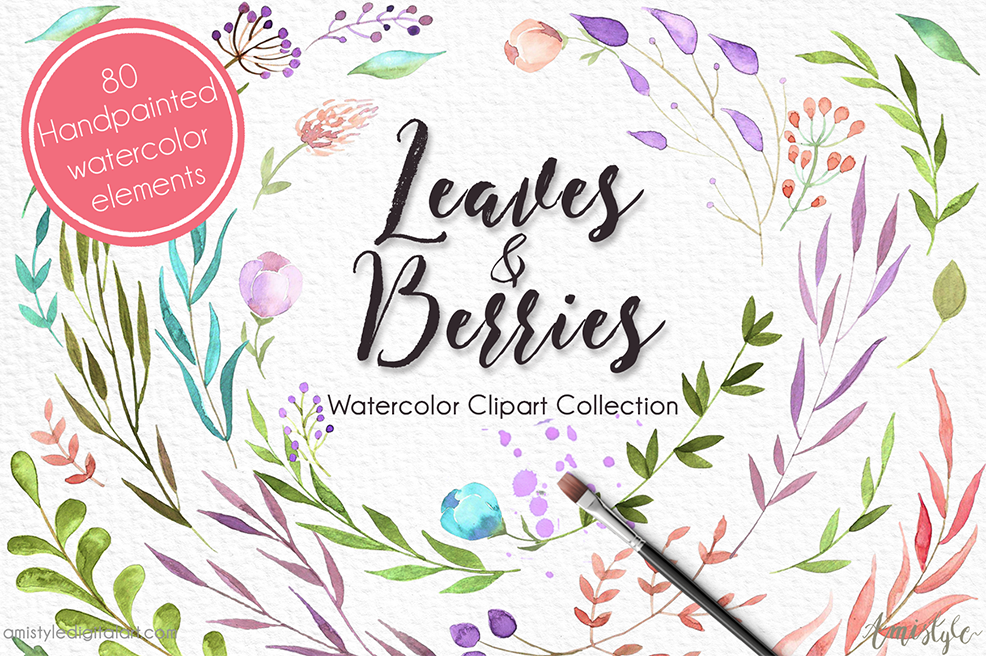 Free watercolor elements flowers berries leaves clipart png clip art black and white stock Leaves and Berries - Watercolor Clipart Set | Amistyle Digital Art clip art black and white stock