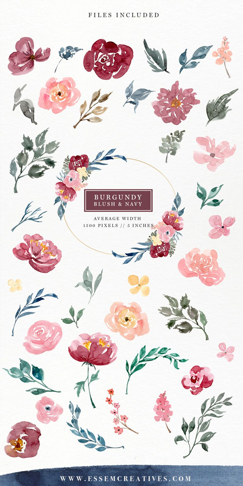 Library Of Watercolor Blush And Navy Flowers Vector Free Library