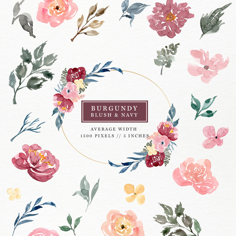 Watercolor blush and navy flowers clipart vector download Burgundy Blush Navy Watercolor Flowers Clipart Set vector download