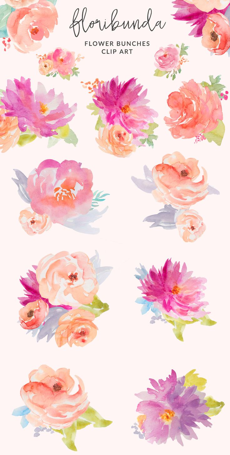 Free watercolor flower clipart jpg black and white download Pink watercolor flowers clipart - ClipartFest jpg black and white download