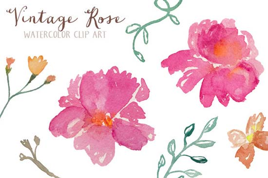 Free watercolor flower clipart jpg freeuse DIY Wedding Design Resources: Watercolor Flowers + a Free ... jpg freeuse