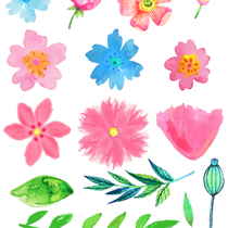 Free watercolor flower clipart vector black and white download Free Watercolor Flower ClipArt - Free Pretty Things For You vector black and white download