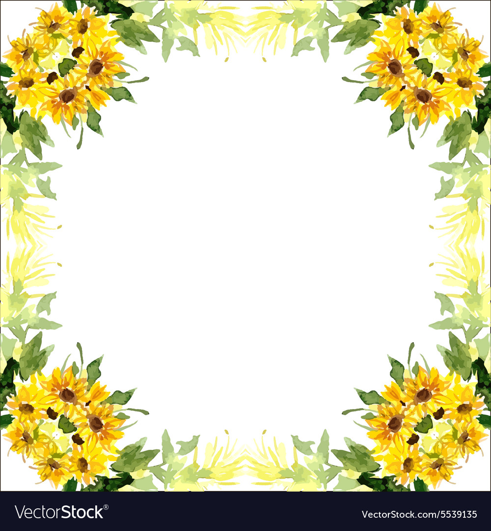 Free watercolor sunflower clipart vector transparent Watercolor card with flowers sunflower vector transparent
