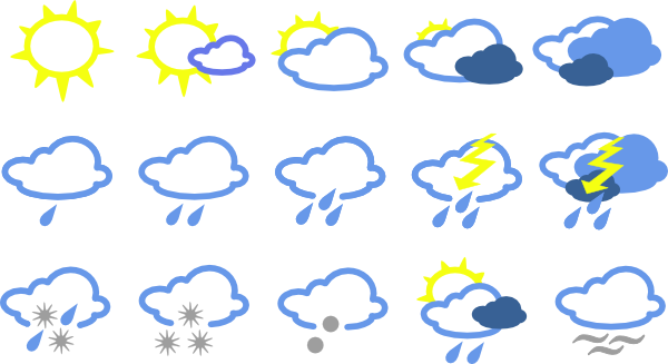 Free weather icons clipart black and white download Free Weather Symbols Images, Download Free Clip Art, Free Clip Art ... black and white download