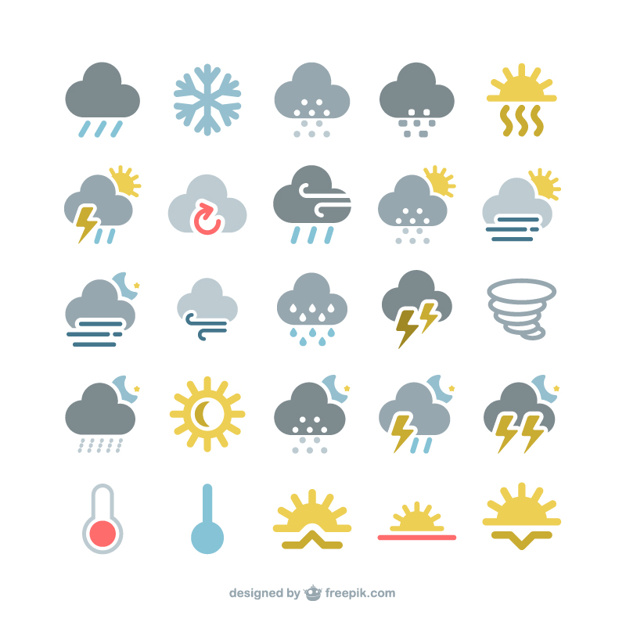 Free weather icons clipart vector royalty free Colorful weather icons pack Vector | Free Download vector royalty free