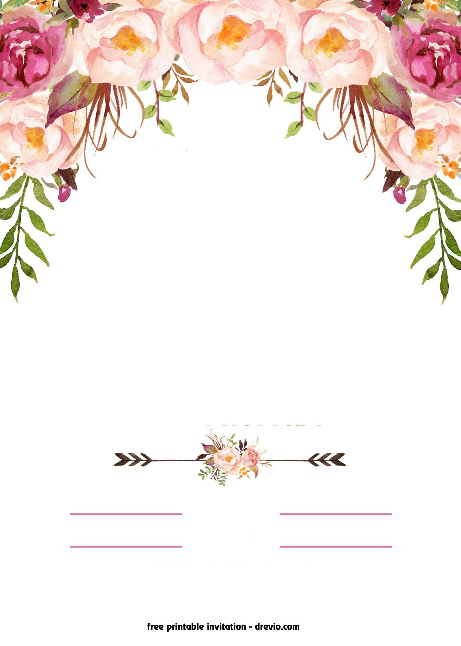 Free wedding banner clipart floral vintage rose clipart black and white library FREE Printable Boho Chic Flower Baby Shower Invitation Template ... clipart black and white library