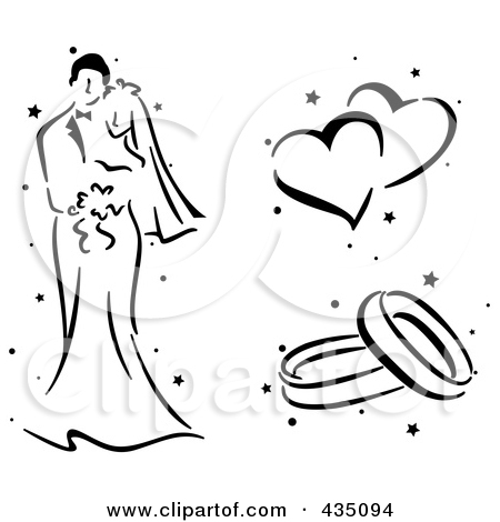 Free wedding clipart black and white bells and hearts vector library Royalty Free Wedding Illustrations by BNP Design Studio Page 6 vector library