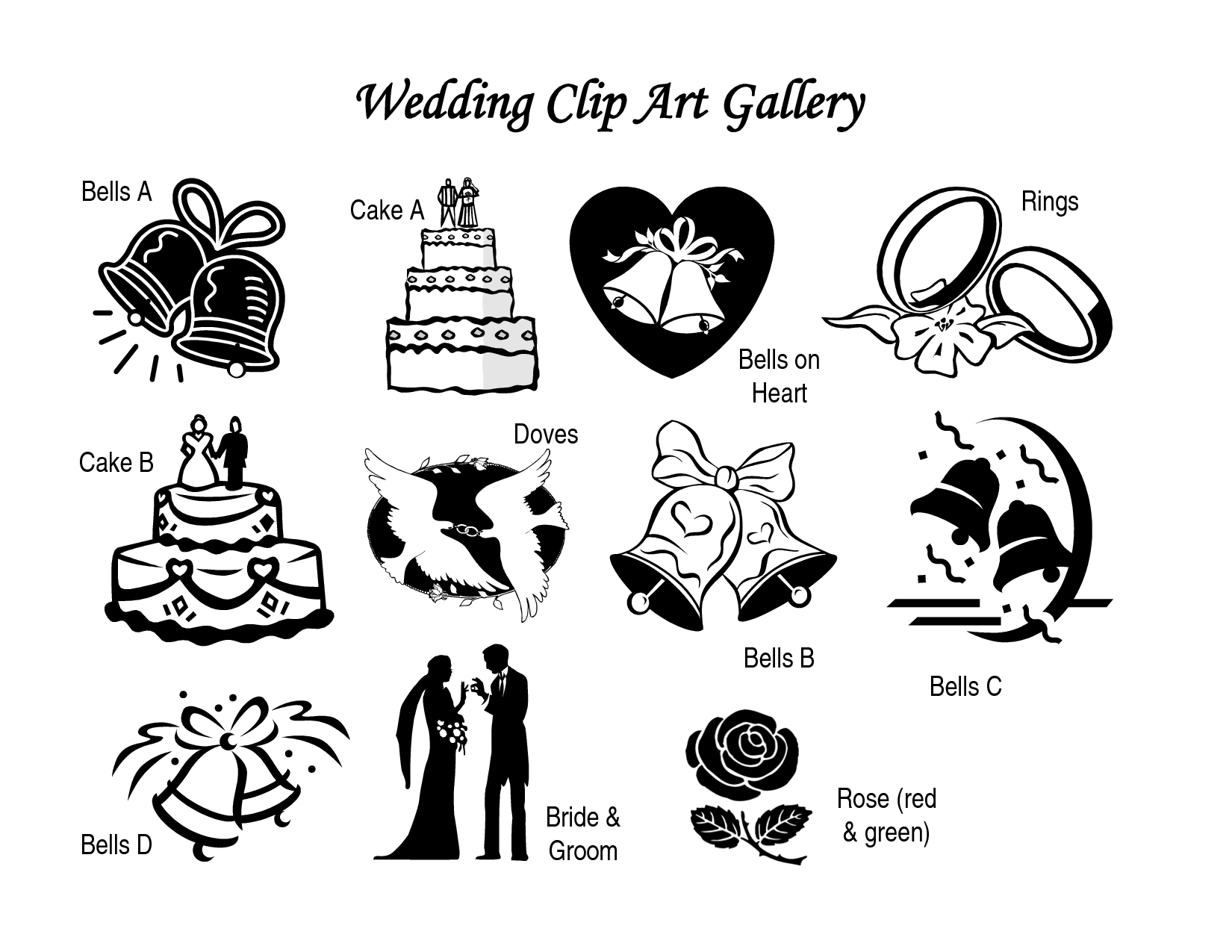 Free wedding clipart black and white bells and hearts svg library stock Clipart Wedding & Wedding Clip Art Images - ClipartALL.com svg library stock