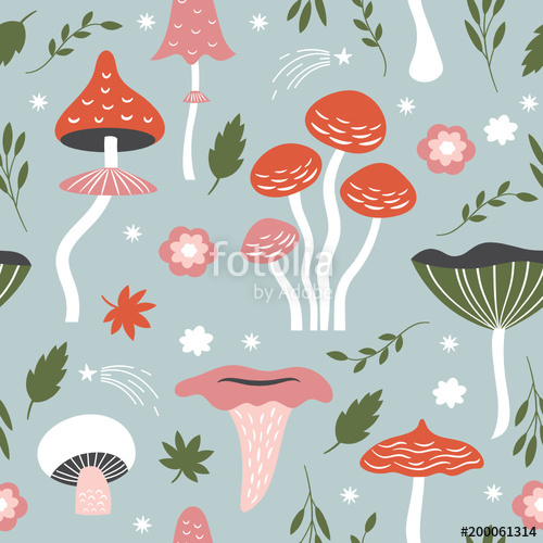 Free whimsical black and white mushrooms png free clipart image library download Seamless pattern with whimsical mushrooms\