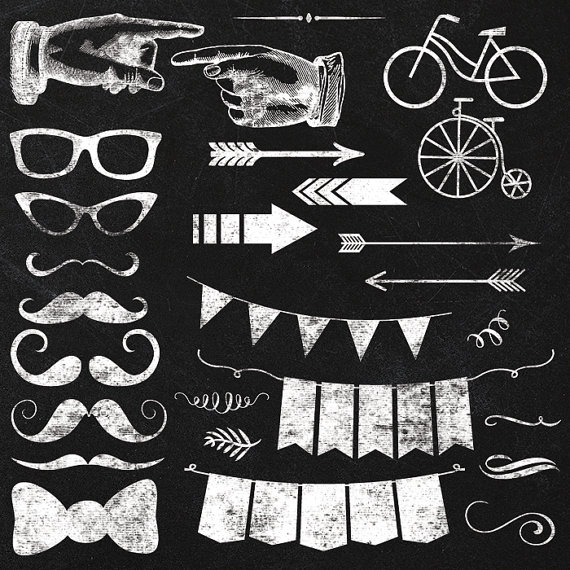 Free white chalk banner with transparent clipart clip library stock Chalkboard Elements and Clipart Instant by JubileeDigitalDesign ... clip library stock