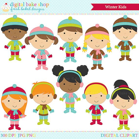Winterchildren clipart free banner library stock winter clipart digital clip art - Winter Kids Digital Clip Art ... banner library stock