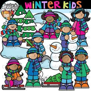 Free winter clipart for teachers picture black and white library Winter Kids Clipart {Winter Clipart} | Holiday Clipart | Classroom ... picture black and white library