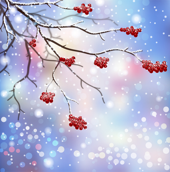 Free winter graphics clipart image library Winter scenes with branch and red fruit Free vector in Adobe ... image library