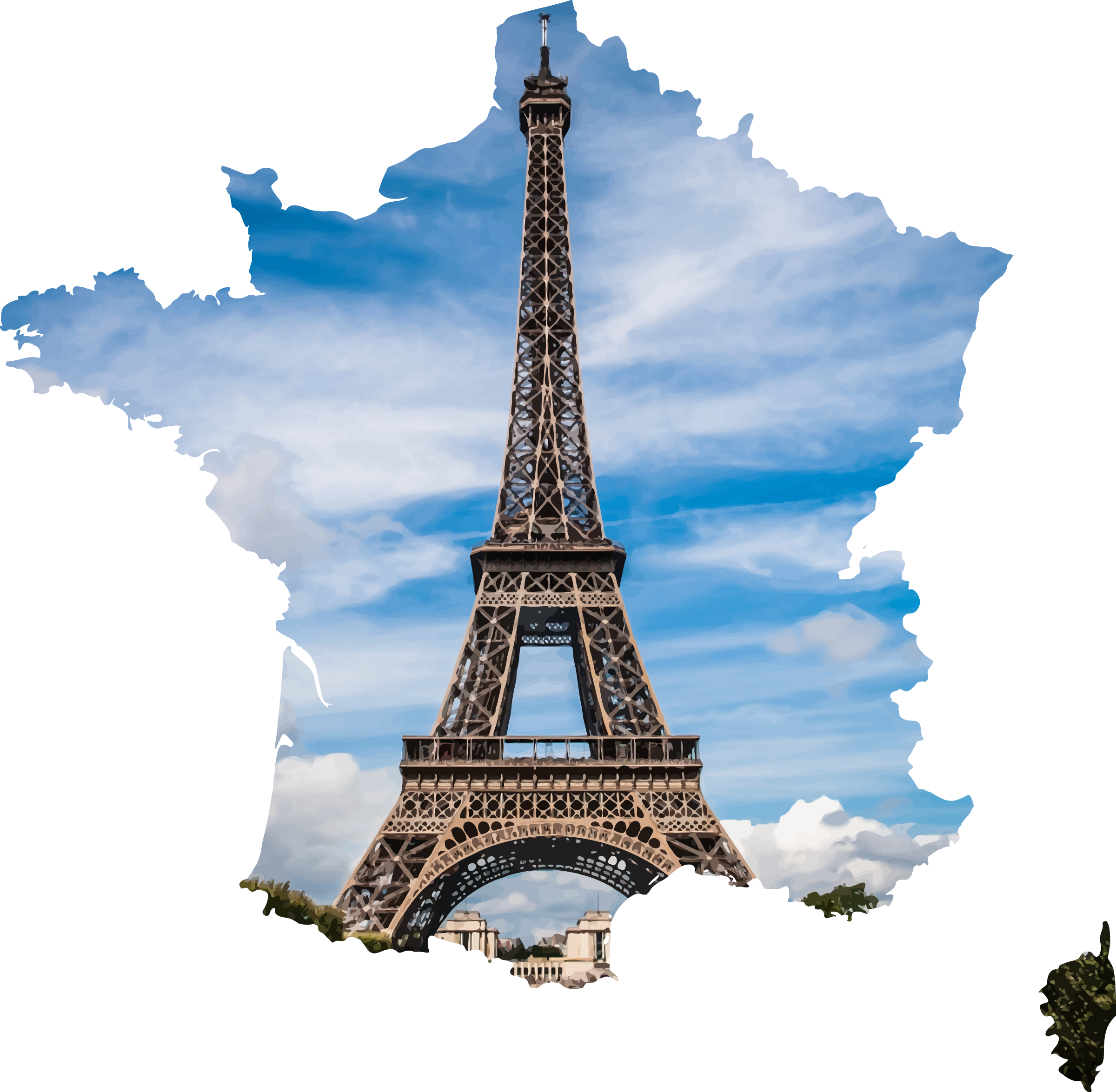 French eiffel tower clipart freeuse stock Eiffel tower in the Shape of France Vector Clipart image - Free ... freeuse stock