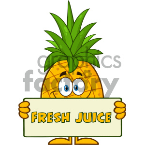 Fresh juice clipart image black and white Smiling Pineapple Fruit With Green Leafs Cartoon Mascot Character Holding A  Banner With Text Fresh Juice clipart. Royalty-free clipart # 404318 image black and white