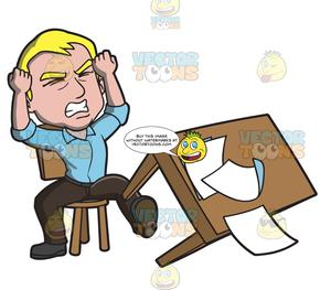 Fretful clipart banner royalty free stock A Man Kicking His Desk In Anger banner royalty free stock