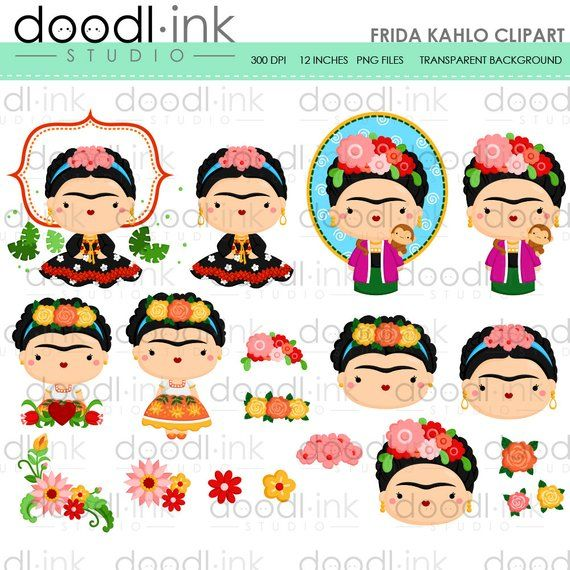 Frida kahlo clipart free graphic download SALE 50%!!! Frida Kahlo Clipart / mexican Painter Cute Cartoon Clip ... graphic download
