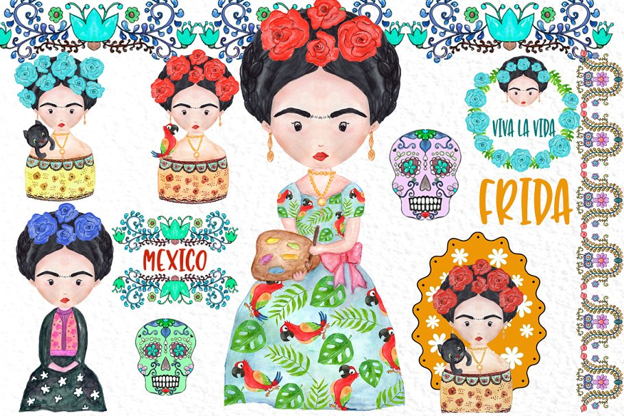 Frida kahlo clipart free graphic black and white download Frida Kahlo Clipart Mexican clipart ~ Illustrations ~ Creative Market graphic black and white download