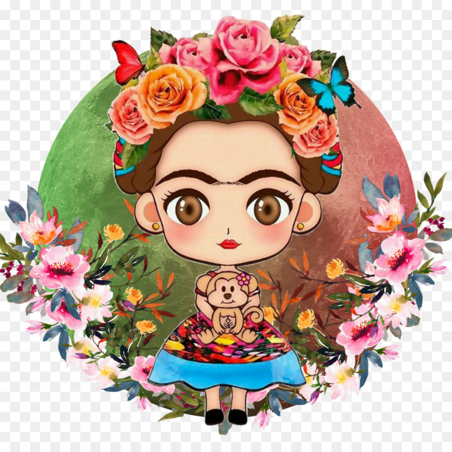 Frida kahlo clipart free png Floral Flower Background clipart - Tshirt, Sticker, Flower ... png